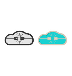 Power plug and cloud icon in shape on a white vector