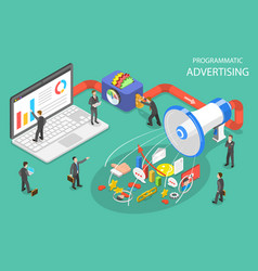 Programmatic advertising flat isometric vector