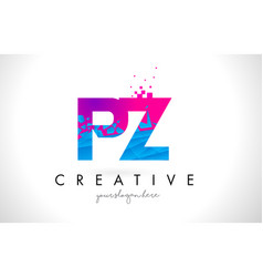 Pz p z letter logo with shattered broken blue vector