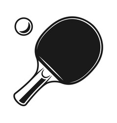 racket for ping pong and ball black objects vector image
