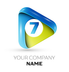 Realistic number seven logo in colorful triangle vector