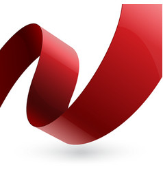 Red shiny fabric curved textured ribbon on white vector image