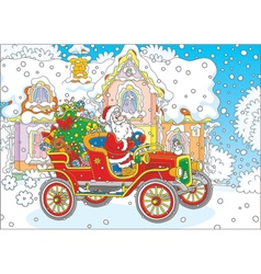 Santa driving a car with gifts vector image