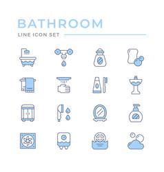 set color line icons bathroom vector image