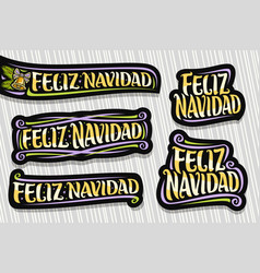 set for merry christmas in spanish vector image