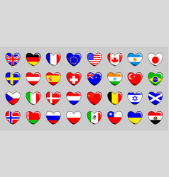 Set of 32 flags of different countries in the vector