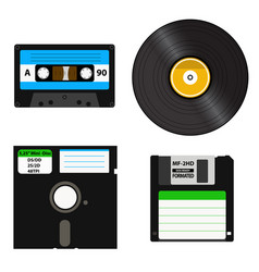 Set of media of different generations - vinyl vector