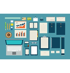 Set of mock up business template office tool vector