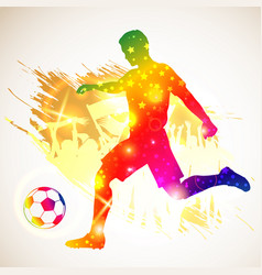 silhouette soccer player vector image