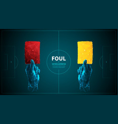 Soccer foul low poly wireframe banner vector