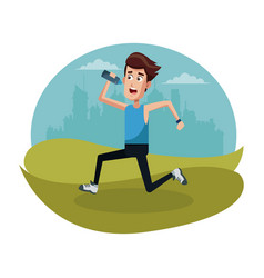 sport man running bottle water vector image