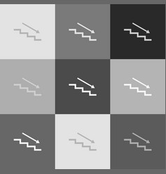 stair down with arrow grayscale version vector image