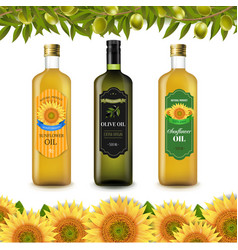 sunflowers and olive oils bottle labels with vector image