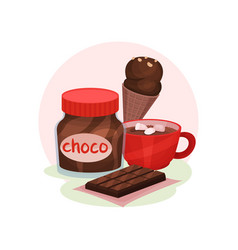 sweet food products cup of cocoa with vector image