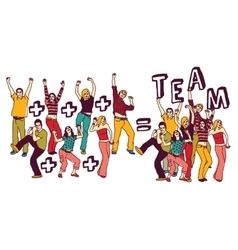 Team group happy young people color isolate white vector image