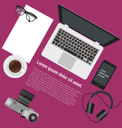 top view flat design office workspace vector image