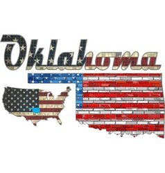 USA state of Oklahoma on a brick wall vector