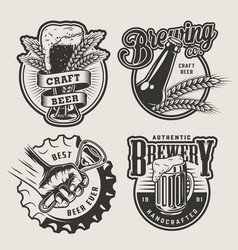 vintage brewing emblems set vector image
