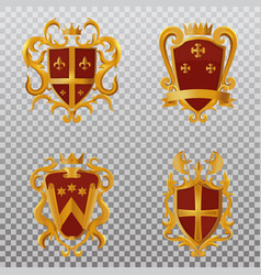 vintage victorian shields with crown vector image