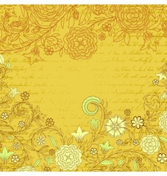 Vintage yellow grungy background with flowers and vector image