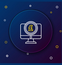 white and yellow line computer monitor with pound vector image