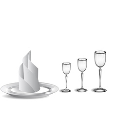 Wine glasses and white plate vector