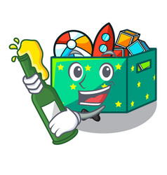 With beer children toy boxes isolated on mascot vector
