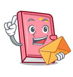 With envelope diary character cartoon style vector