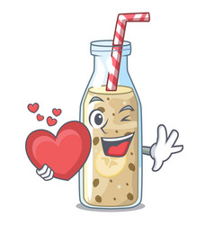 with heart healthy banana smoothie in cartoon vector image