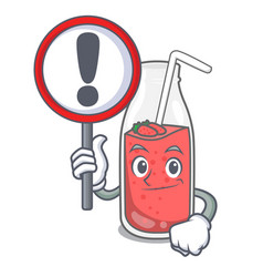 with sign strawberry smoothie character cartoon vector image
