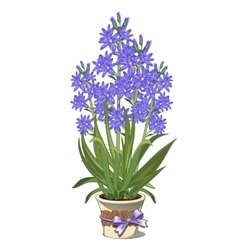 Bouquet of blue lilies in glass vase vector image vector image