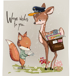 cute fawn and fox with letter vector image
