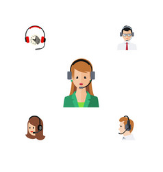 flat icon center set of secretary headphone vector image vector image