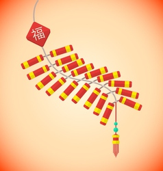 flat style chinese new year firecrackers vector image