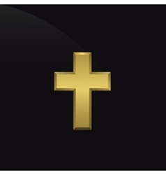 Golden cross icon vector image