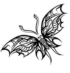 grunge elegance ink butterfly vector image