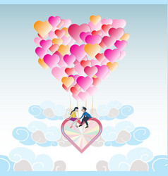 Lover on heart balloon flying among the cloud with vector image vector image