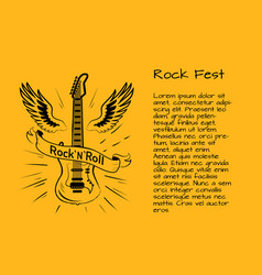 rock and roll fest poster vector image vector image