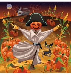 Scarecrow with pumpkins vector image vector image