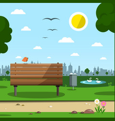 sunny day in park with town silhouette empty vector image vector image