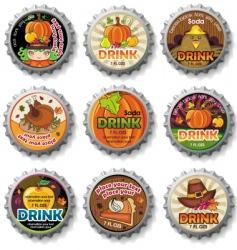 thanksgiving bottle caps vector image vector image