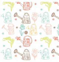 watering cans seamless pattern vector image vector image