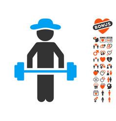 gentleman power lifting icon with dating bonus vector image vector image