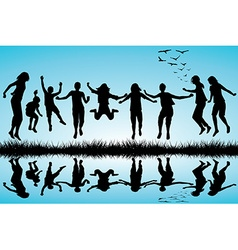 Group of boys and girls jumping outdoor vector image vector image