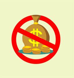 no money bag sign icon stop symbol vector image