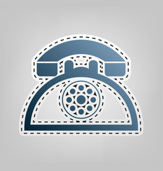 retro telephone sign blue icon with vector image