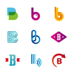 Set of letter b logo icons design template vector
