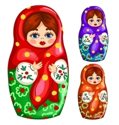 Traditional wooden russian matryoshka toy vector