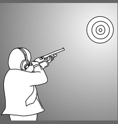businessman shooting a target with rifle vector image