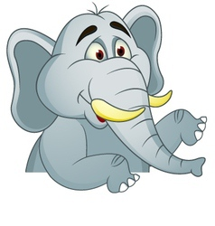 elephants cartoon with blank sign vector image vector image